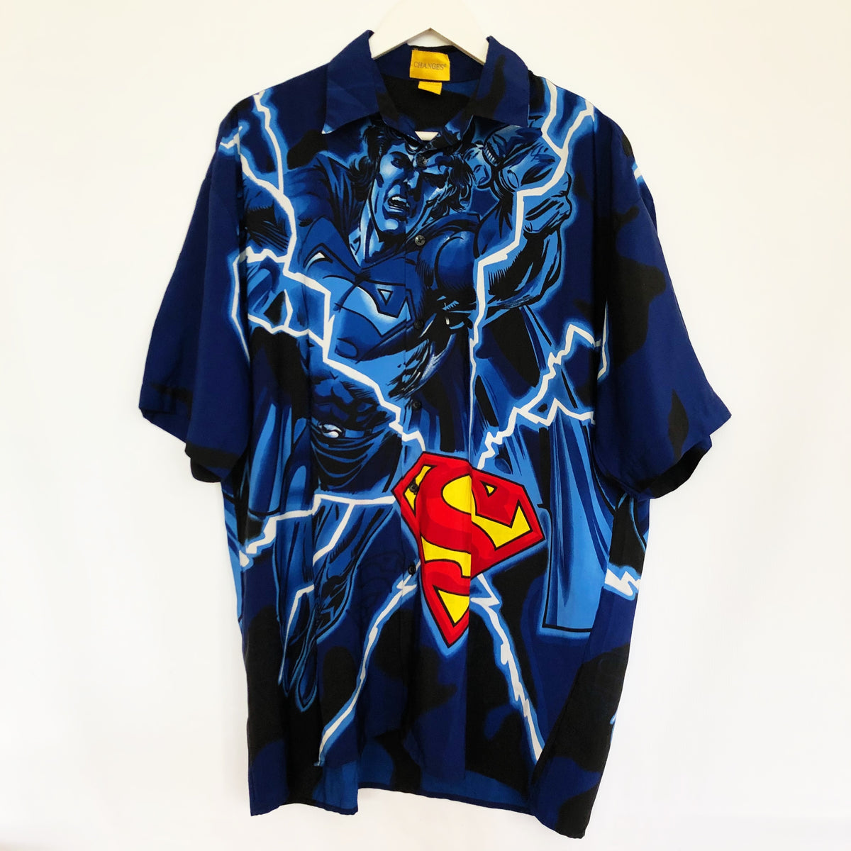 Superman All Over Graphic Vintage 1990's Button Shirt Mens Large