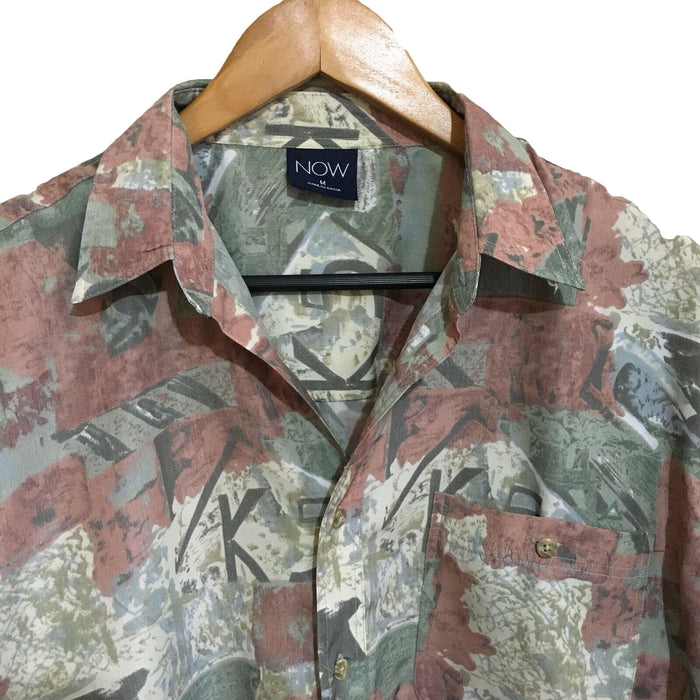 Now Abstract 1990's Vintage Button Shirt Mens Medium