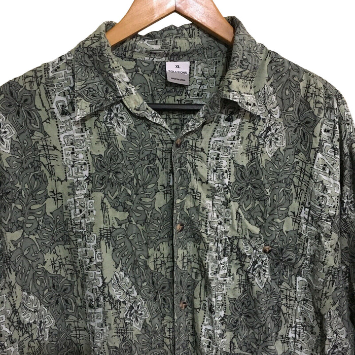 Solutions Abstract Floral 1990's Vintage Button Shirt Mens XL