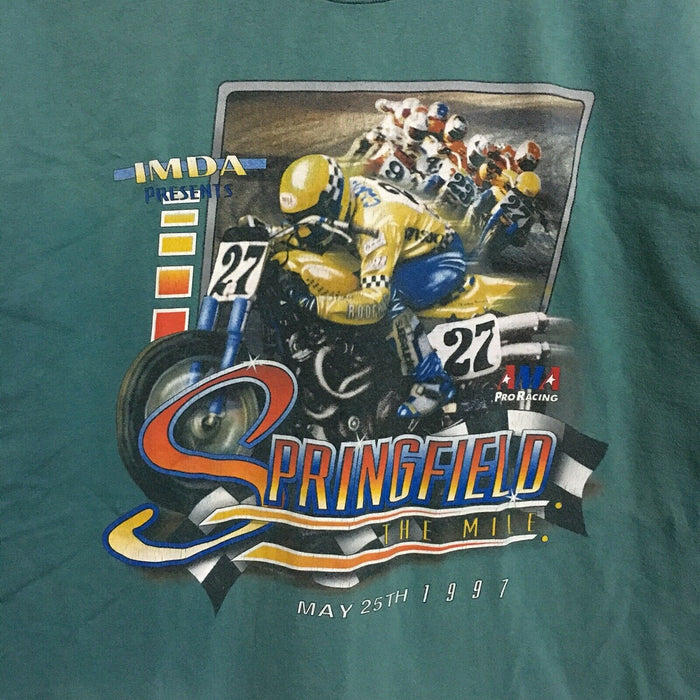 Springfield The Mile Speedway AMA Racing 1997 Vintage T-Shirt Mens Large