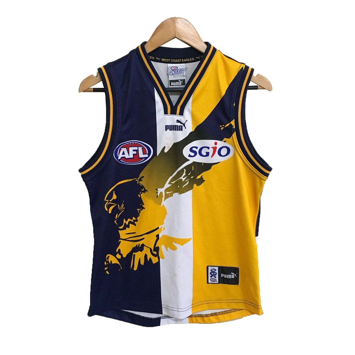 West Coast Eagles Puma Vintage AFL Football Guernsey Mens Small