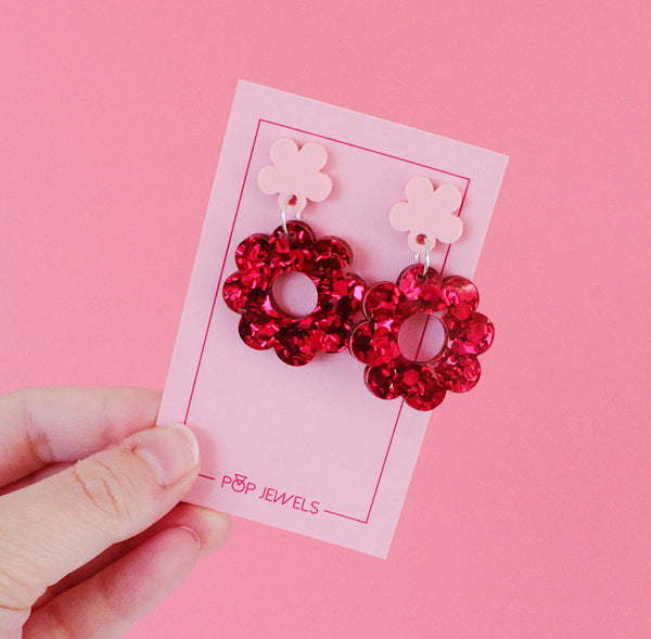 Daisy Drops - Chunky Red Glitter/Blush Pink