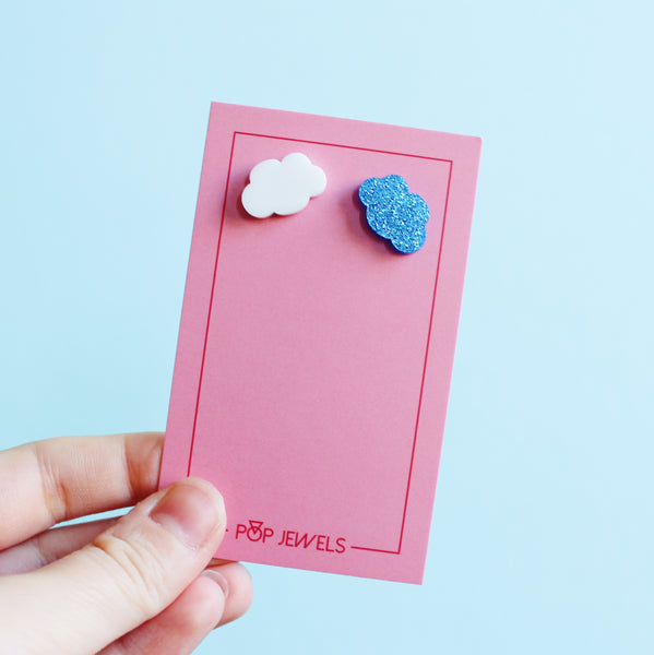 Cloud Studs - Blue Glitter/White