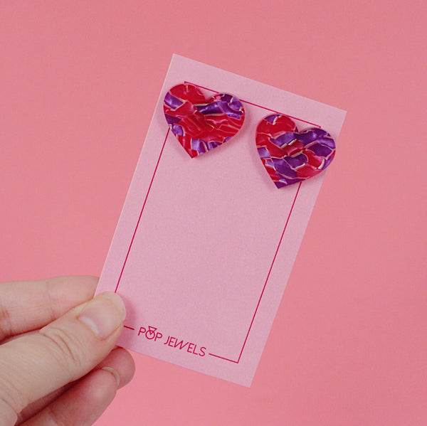 XL Heart Studs - Crackle Pink/Purple