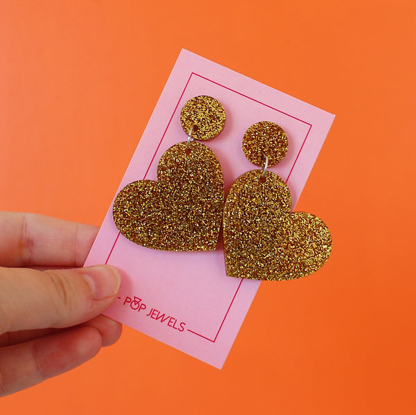 Mini Hearts - Gold Glitter