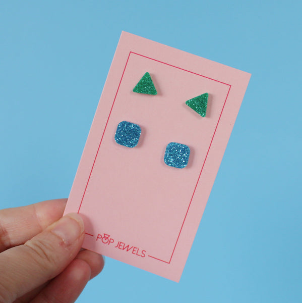 Triangle and Square 12mm Studs - Green/Blue Glitter