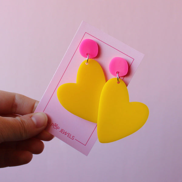 Mini Organic Heart - Yellow/Pink