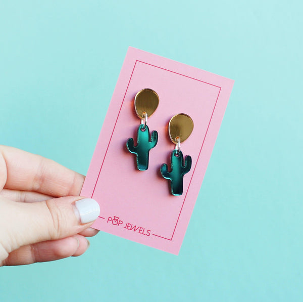 POPPETS -  Mini Cactus Dangle - Mirror Gold/Mirror Teal