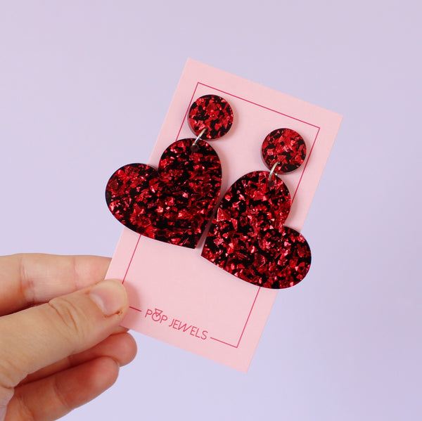 Mini Heartbeats - Red Crackle