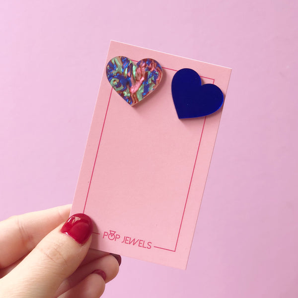 XL Heart Studs - Mother of Pearl/Blue Mirror