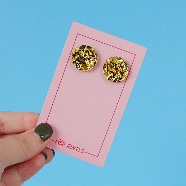 Circle 20mm Studs - Chunky Gold Glitter