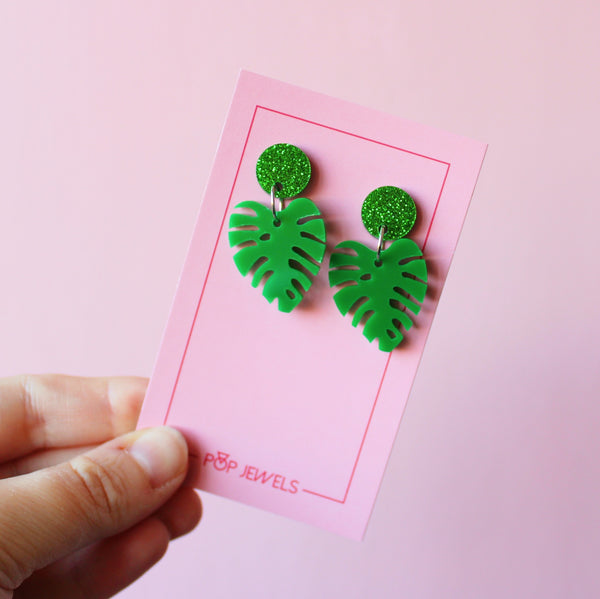 Mini Monstera - Green/Green Glitter