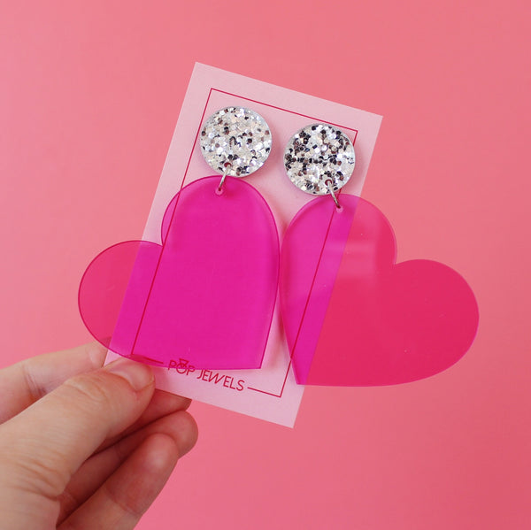 XL Hearts - Transparent Pink/Silver Glitter