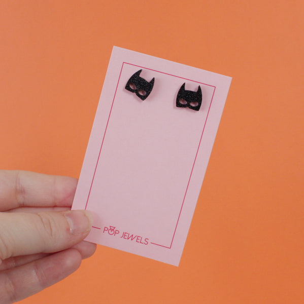 Batman Studs - Black Glitter