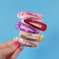Pop Clips - Red Glitter - 2 pack