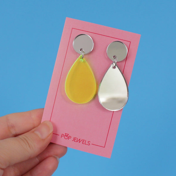 Pop Drops - Transparent Yellow/Silver Mirror