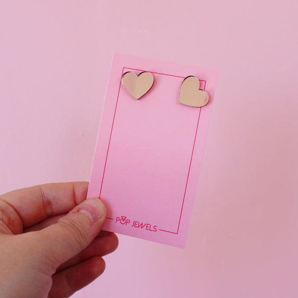Heart Studs - Rose Gold Mirror