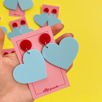 Mini Hearts - Matte Pastel Blue/Red Gloss