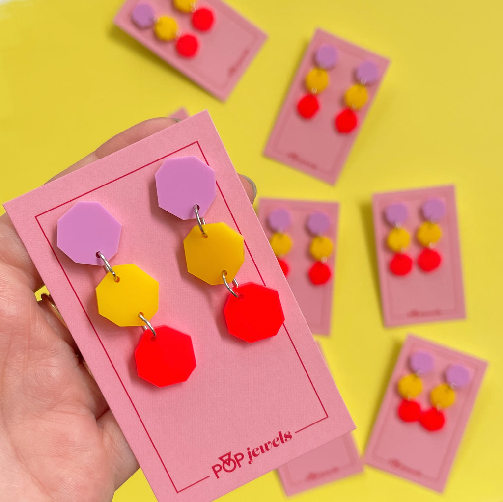 Triple Dots - Matte Pastel Bubblegum/Mustard/Neon Red