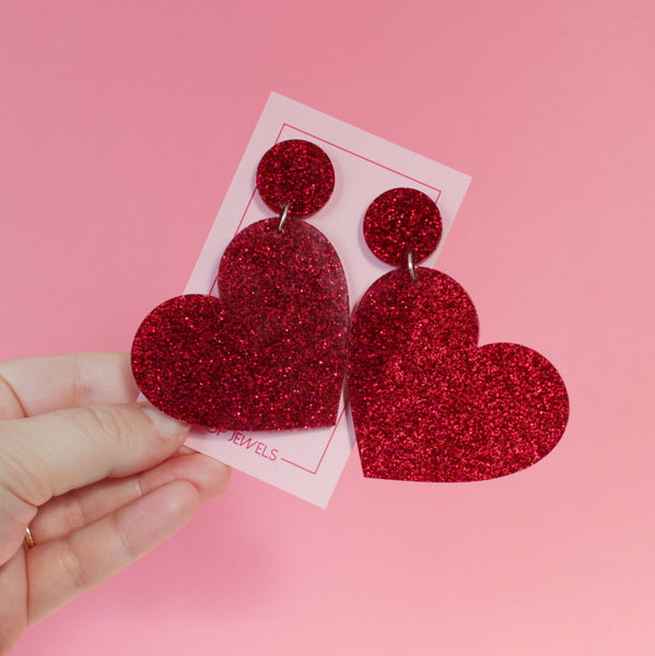 XL Hearts - Red Wine Glitter