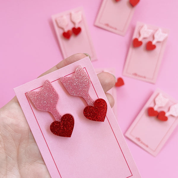 Cupid Studs - Red/Pink Glitter
