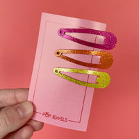 Mini Pop Clips - Pink/Orange/Yellow Shimmer - 3 pack