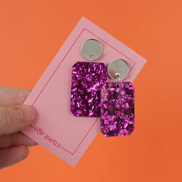 Rectangle Drops - Berry Glitter/Silver Mirror