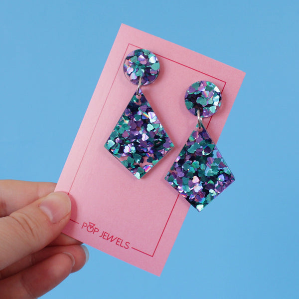 Kites - Purple/Teal Chunky Heart Glitter