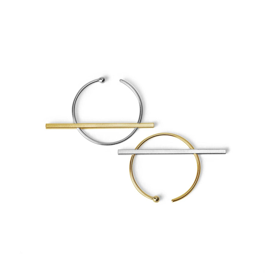 O1O1 earrings in 14K yellow gold and silver