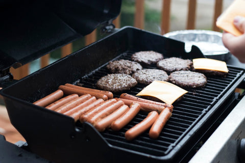 Burger and Hotdogs on Grill