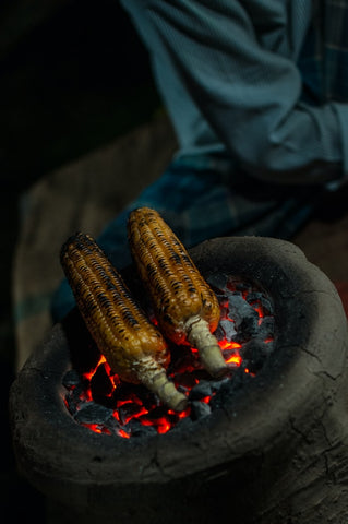 Grill Corn on Charcoal