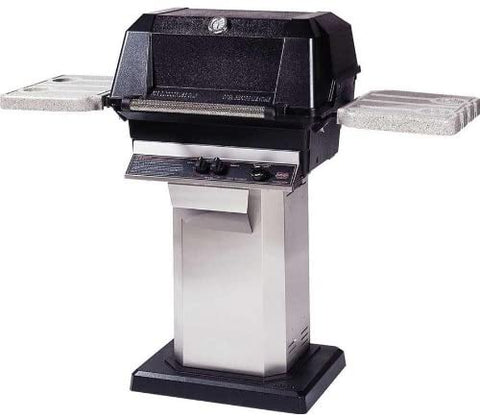 MHP WNK4 Gas Grill with Stainless Side Shelves on Deck or Patio Base