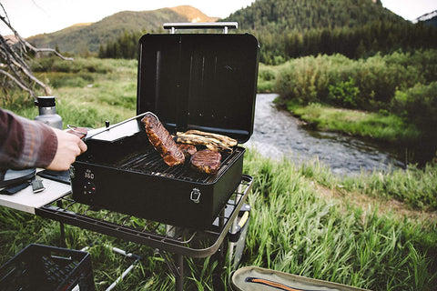 Traeger grill used in the mountains