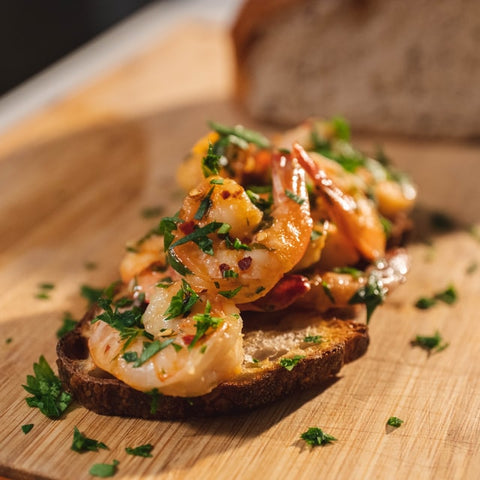 brown bread with shrimp
