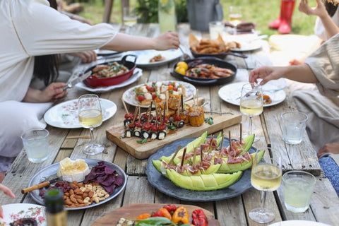 brunch with different meals on outdoor table