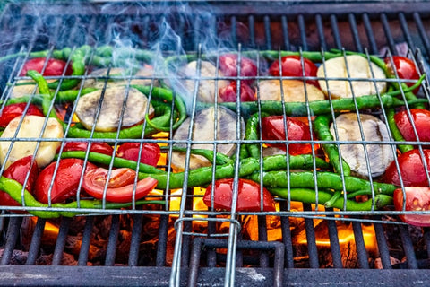 grilled food under fire