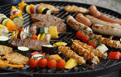 meats and kebab on grill