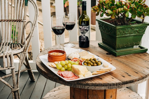 wine and food on a table