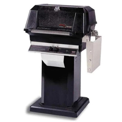 MHP JNR4 Stainless Steel Gas Grill on Black Aluminum Column w/ SearMagic Cooking Grids