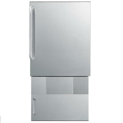 "Summit BIM24OSBase34 33"" Stainless Steel 12 lb. Drain-Free Outdoor Icemaker w/ Towel Bar Handle"