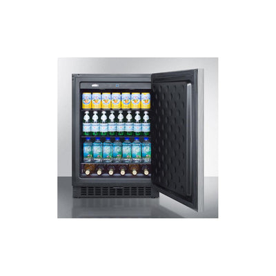 "Summit SPR627OSCSSHH 24"" Outdoor Refrigerator with recessed LED lighting"