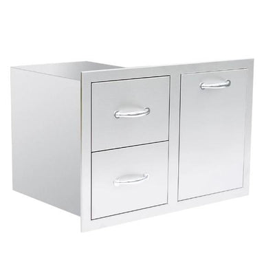 "Summerset SSDC2-33LP 33"" Stainless Steel 2-Drawer & LP Tank Pullout Drawer Combo"