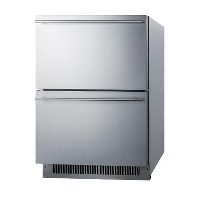 "Summit ADRD24 24"" Stainless Steel 4.8 cu.ft 2-Drawer Outdoor Refrigerator"