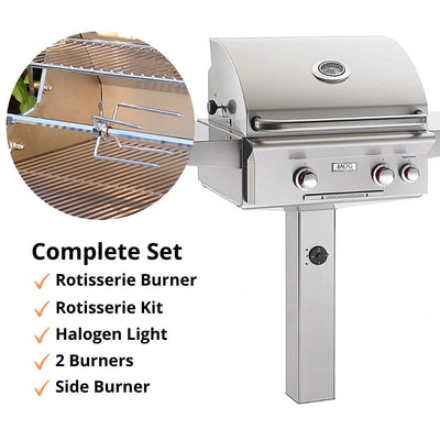 "American Outdoor Grill 24NGT In-Ground Post 24"" 2 Burner Gas Grill"