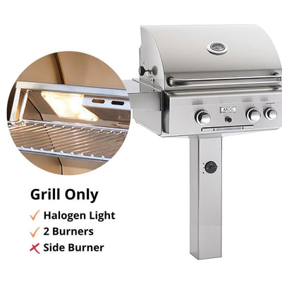 "American Outdoor Grill 24NGL In-Ground Post 24"" 2 Burner Gas Grill"