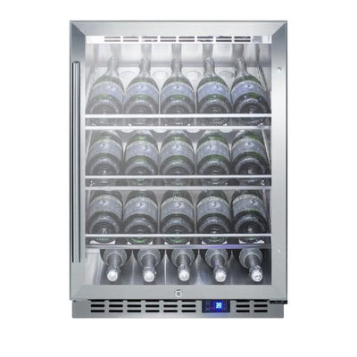 "Summit SCR611GLOSCH 24"" Stainless Steel 20 Bottle Outdoor Commercial Wine Cellar"