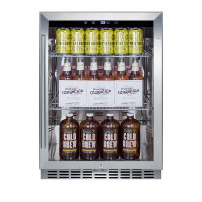 "Summit SCR611GLOS 24"" Stainless Steel 5.0 cu.ft. Commercial Outdoor Rated Beverage Center"