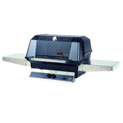 MHP WNK4 Gas Grill with Stainless Side Shelves on Aluminum Column