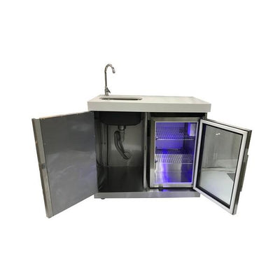 "Mont Alpi MASF-SS 20"" Stainless Steel Module Sink and Outdoor Fridge"