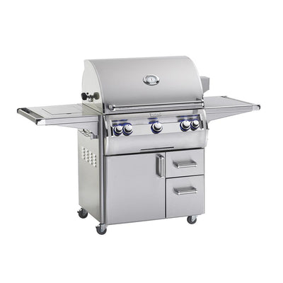 Fire Magic Echelon Diamond E660s Freestanding Gas Grill Side Burner with analogue thermometer